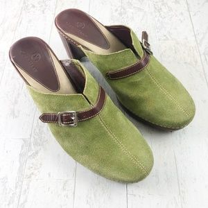 Cole Haan Green Suede Mules